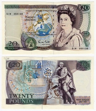 """Series D"" £20 note, issued from 1970 to 1991."