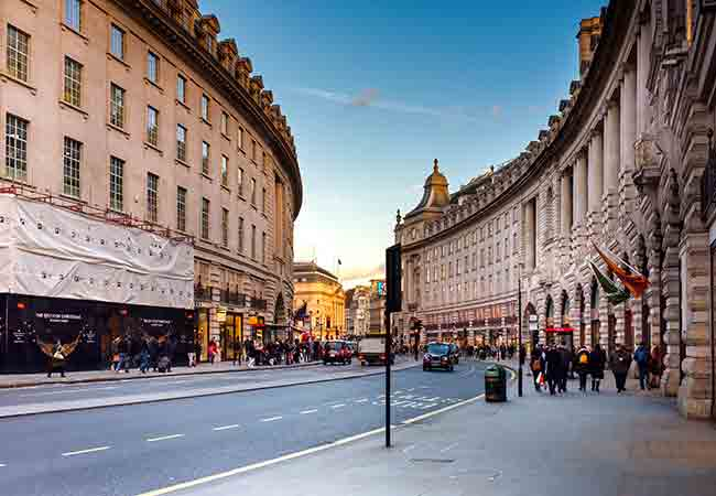 Regent Street has a wide assortment of mid-priced trendy stores