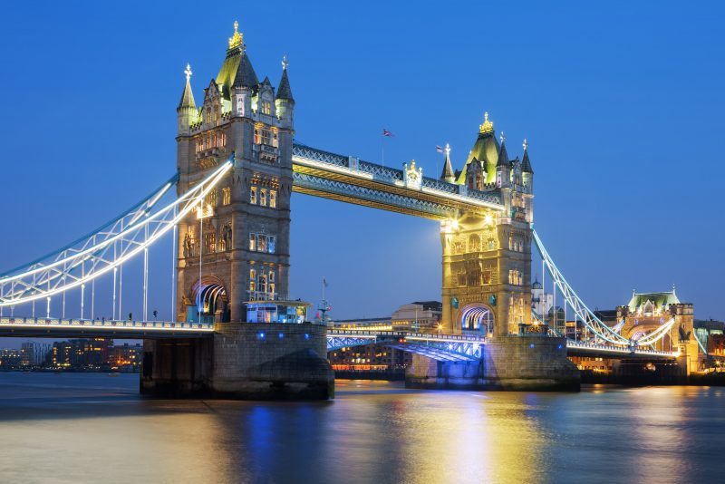 famous tower bridge in the evening london england
