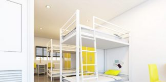 hostel dormitory beds arranged room London